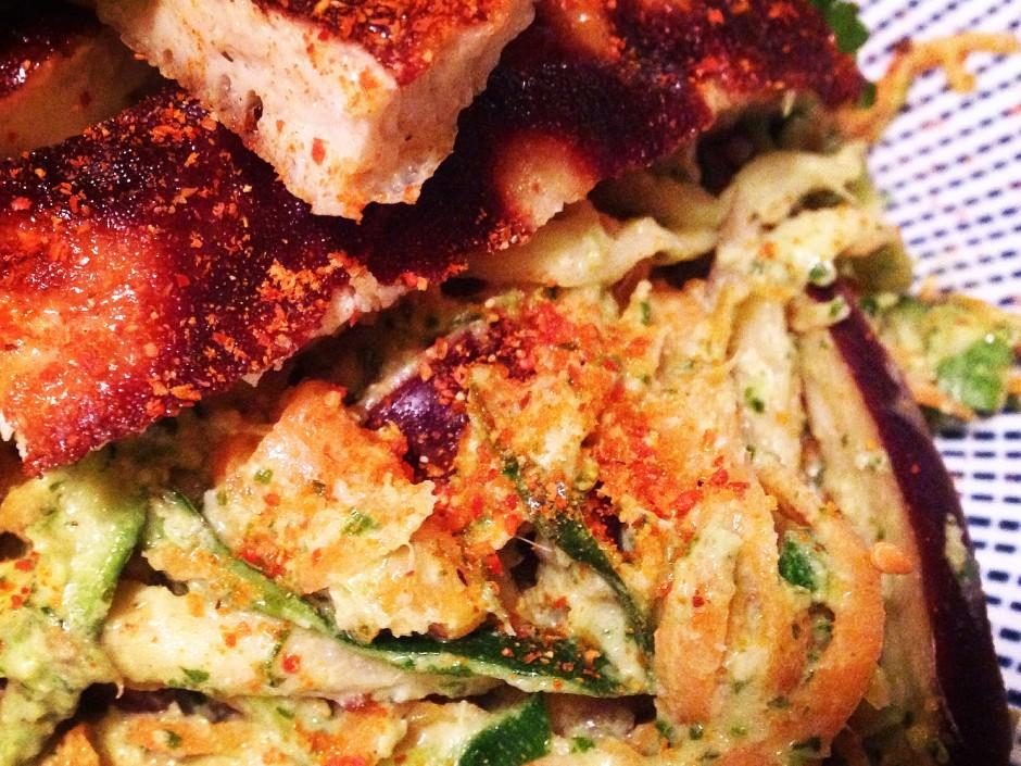 Paleo-Tahini-Mixed-Veggie-Noodles-Sweet-Egg-Omelette