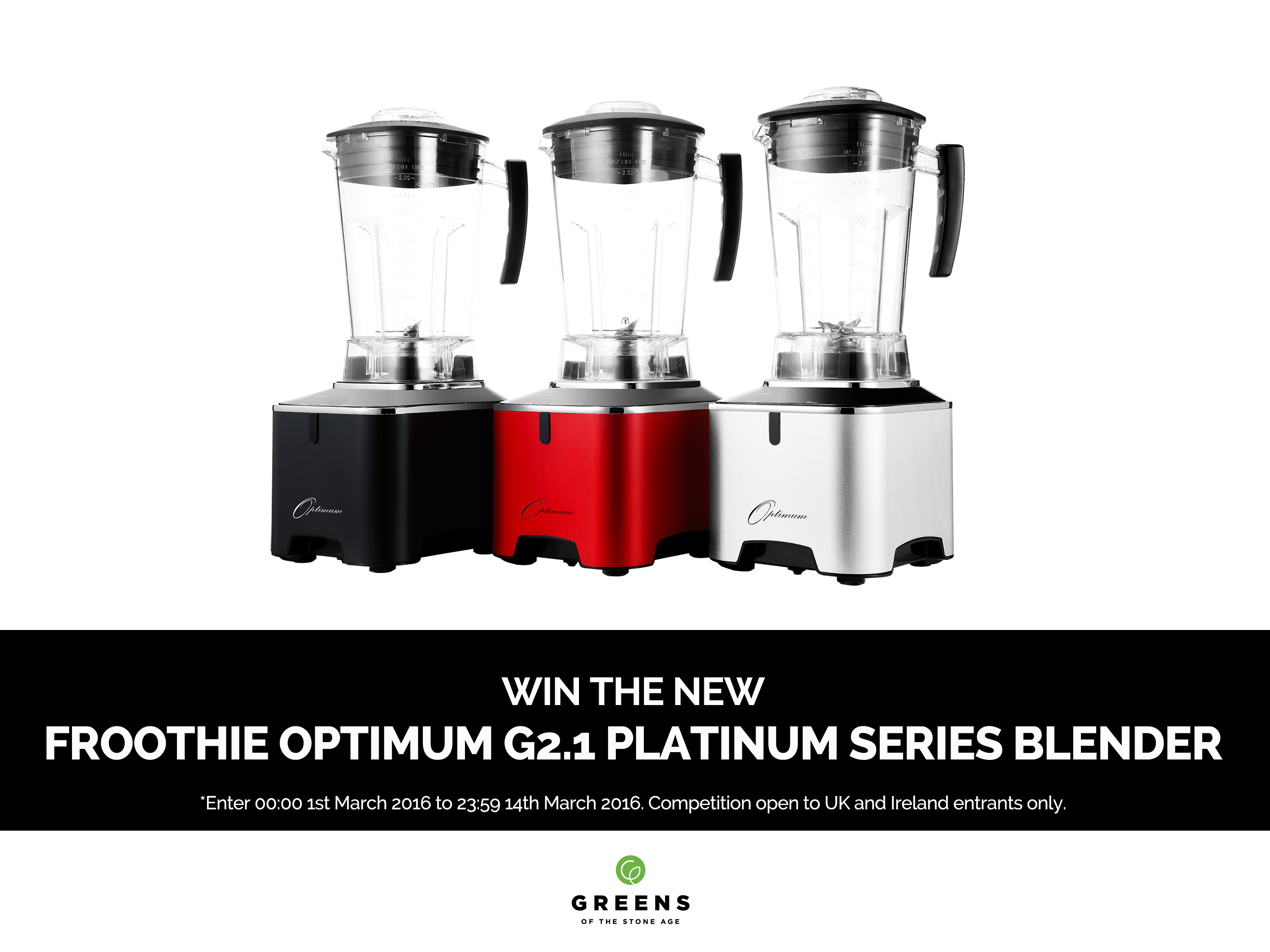 A picture of the colour range of the Froothie Optimum G2.1 Platinum Series Blender
